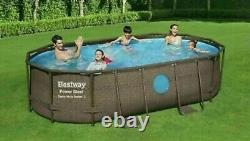 Bestway 14ft x 8'2 x 39.5 Oval Power Steel Frame Swim Vista Pool