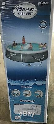 Bestway Fast Set 15ftx42in Swimming Pool New Ladder, Cover, Pump, Filter 3ply Liner