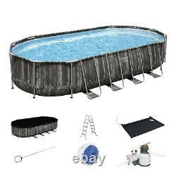 Bestway Power Steel 22x12x48 Above Ground Oval Pool Set withPump