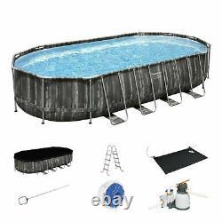 Bestway Power Steel 22x12x48 Above Ground Oval Pool Set withPump, water heat