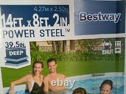 Bestway Power Steel Oval Frame Pool Set 13.91' X 8.2' X 39.5 In Hand