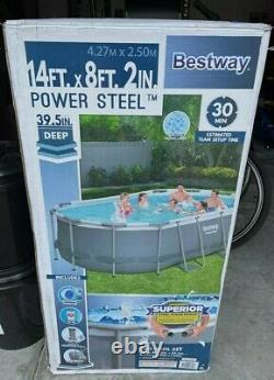 Bestway Power Steel Oval Frame Swimming Pool 14' x 8' 2 & 39.5 Deep
