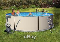 Blue Wave Steel Wall Above Ground Swimming Pool Package, Pump, Filter, Liner