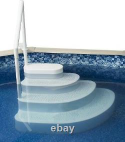 Blue Wave Wedding Cake Above Ground Pool Step with Liner Pad White