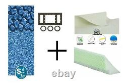 Boulder Swirl 25 Gauge Unibead Swimming Pool Liner with Cove & Pad (Choose Size)