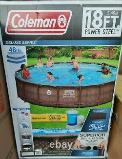 COLEMAN Power Steel 18' x 48 Round Above Ground Swimming Pool Set With Pump NEW