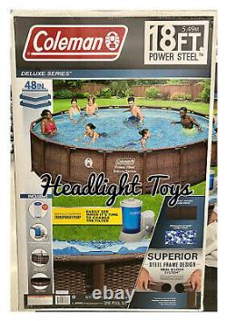 Coleman 18 x 48 Power Steel Frame Deluxe Round Above Ground Swimming Pool Pump