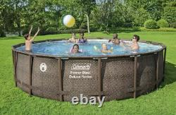 Coleman 18ft x 48in Power Steel Deluxe Above Ground Swimming Pool withPump