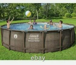 Coleman 18ft x 48in Power Steel Deluxe Series Above Ground Swimming Pool