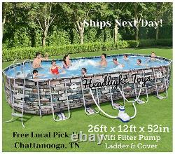 Coleman 26 x 12 x 52 Power Steel Oval Above Ground Swimming Pool WiFi Pump