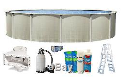 IMPRESSIONS Round Above Ground Swimming Pool with Liner, Sand Filter & Ladder Kit