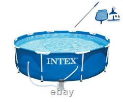 Intex 10ft x 30in Metal Frame Swimming Pool with Filter and Maintenance Kit