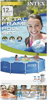 Intex 12ft x 30in Prism Metal Frame Above Ground Swimming Pool with Pump (26711EH)