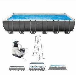 Intex 24ft X 12ft X 52in Ultra XTR Frame Rectangular Pool Set with Filter & ladd