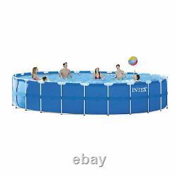 Intex 28261CA 24 Foot x 52 Inch Round Metal Frame Above Ground Swimming Pool Set