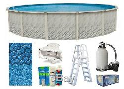 Lake Effect 24' x 52 Round Meadow Swimming Pool with Boulder Liner, Pump & Ladder