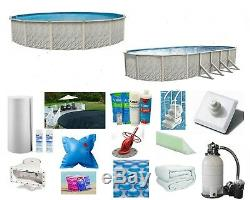 Lake Effect Above Ground Round Meadows Swimming Pool with Liner, Filter & Step
