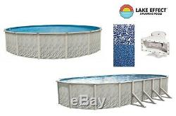 Lake Effect Above Ground Round Oval MEADOWS Swimming Pool with Cracked Glass Liner