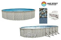 Lake Effect Above Ground Round Oval MEADOWS Swimming Pool with Rock Island Liner