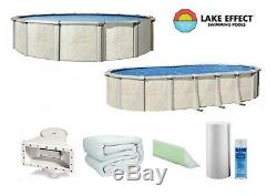 Lake Effect Fallston Above Ground Swimming Pool with Liner, Guard, Cove, Wall Foam