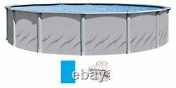 Lake Effect Galeria 12' x 52 Round Steel Sided Above Ground Pool with Solid Blu