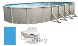Lake Effect Oval Above Ground Swimming Pool 48 Wall with Skimmer & Blue Liner