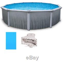 Martinique 21' Round 52 Deep Above Ground Pool with Solid Blue Overlap Liner