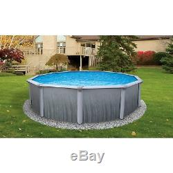 Martinique 27' Round 52 Deep Above Ground Pool with Solid Blue Overlap Liner