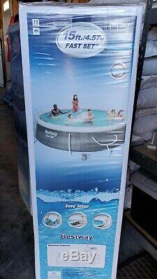 NEW BESTWAY FAST SET SWIMMING POOL 15ft x 42in TRI-TECH ENHANCED 3 PLY LINER