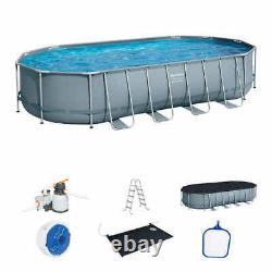 NEW Bestway Power Steel 22' x 12' x 48 Oval Above Ground Pool Set with Pump