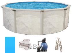 Ocean Mist 15' Round 48 Steel Above Ground Swimming Pool, Filter, Ladder, Liner