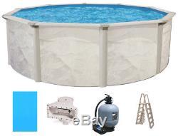 Ocean Mist 24' Round 48 Steel Above Ground Swimming Pool, Filter, Ladder, Liner