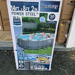 Power Steel 13.91' X 8.2' X 39.5 Oval Frame Pool Set