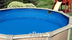 Round & Oval Above Ground Plain Blue Swimming Pool Overlap Liner with Cove & Guard