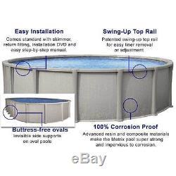 Salt-Friendly Matrix Above Ground Steel Wall Swimming Pool Kit Round Oval Liner