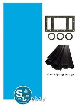 SmartLine Plain Blue Overlap Swimming Pool Liner with Coping (Choose Size & Gauge)