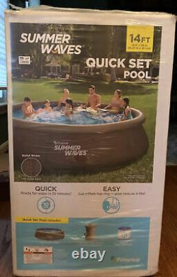 Summer Waves 14' x 36 Wicker Print Quick Set Pool with Filter Pump SEALED New