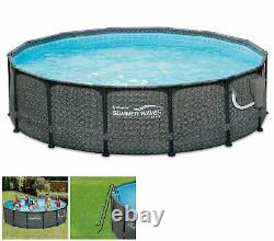 Summer Waves 14' x 48 Outdoor Round Frame Above Ground Swimming Pool with Pump