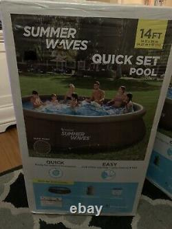 Summer Waves 14ft x 36in Quick Set Wicker Look Swimming Pool w Filter & Pump New