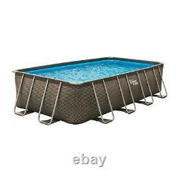 Summer Waves 18 ft Dark Double Rattan Print Elite Rectangular Frame Pool