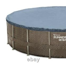 Summer Waves 22ft x 52in Above Ground Swimming Pool With Pump Ladder & Cover