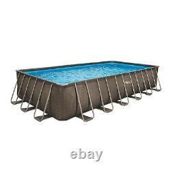 Summer Waves 24 ft Dark Double Rattan Print Elite Rectangular Frame Pool