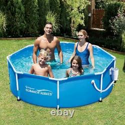 Summer Waves 8ft x 30in Outdoor Round Frame Above Ground Swimming Pool with Pump
