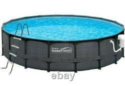 Summer Waves Elite Dark Wicker 18ft. X 52in. Metal Frame Above Ground Pool