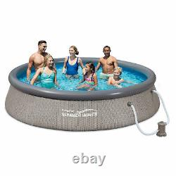 Summer Waves Quick Set 12 x 36 Inflatable Above Ground Swimming Pool with Pump
