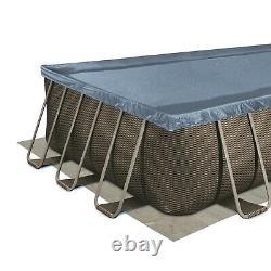 Summer waves 24ft Elite rectangular frame pool dark double rattan print