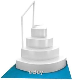 White Wedding Cake Above Ground Swimming Pool Step w Liner Pad Slip Resistant